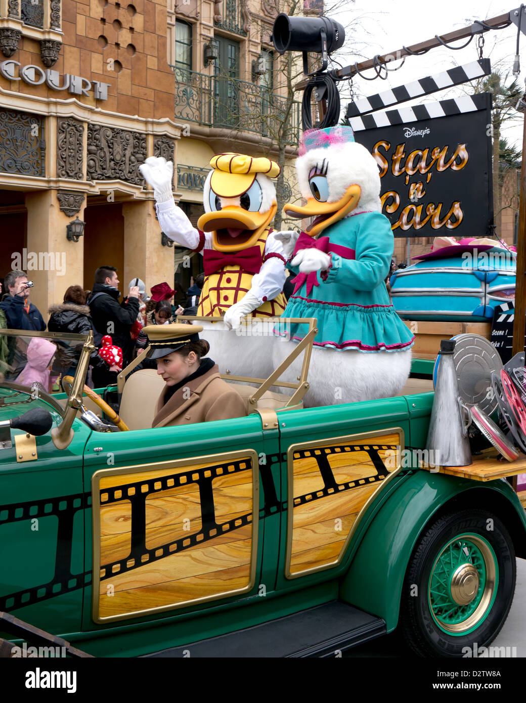 Donald Duck and Daisy Duck taking part in Disneys Stars n Cars