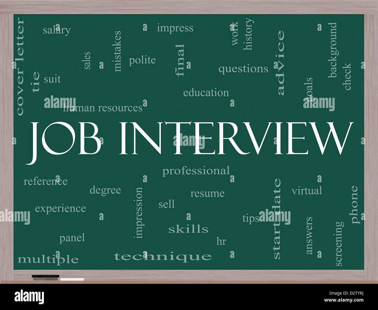 job interview word cloud concept on a blackboard with great terms such as suit education resume degree hr and more