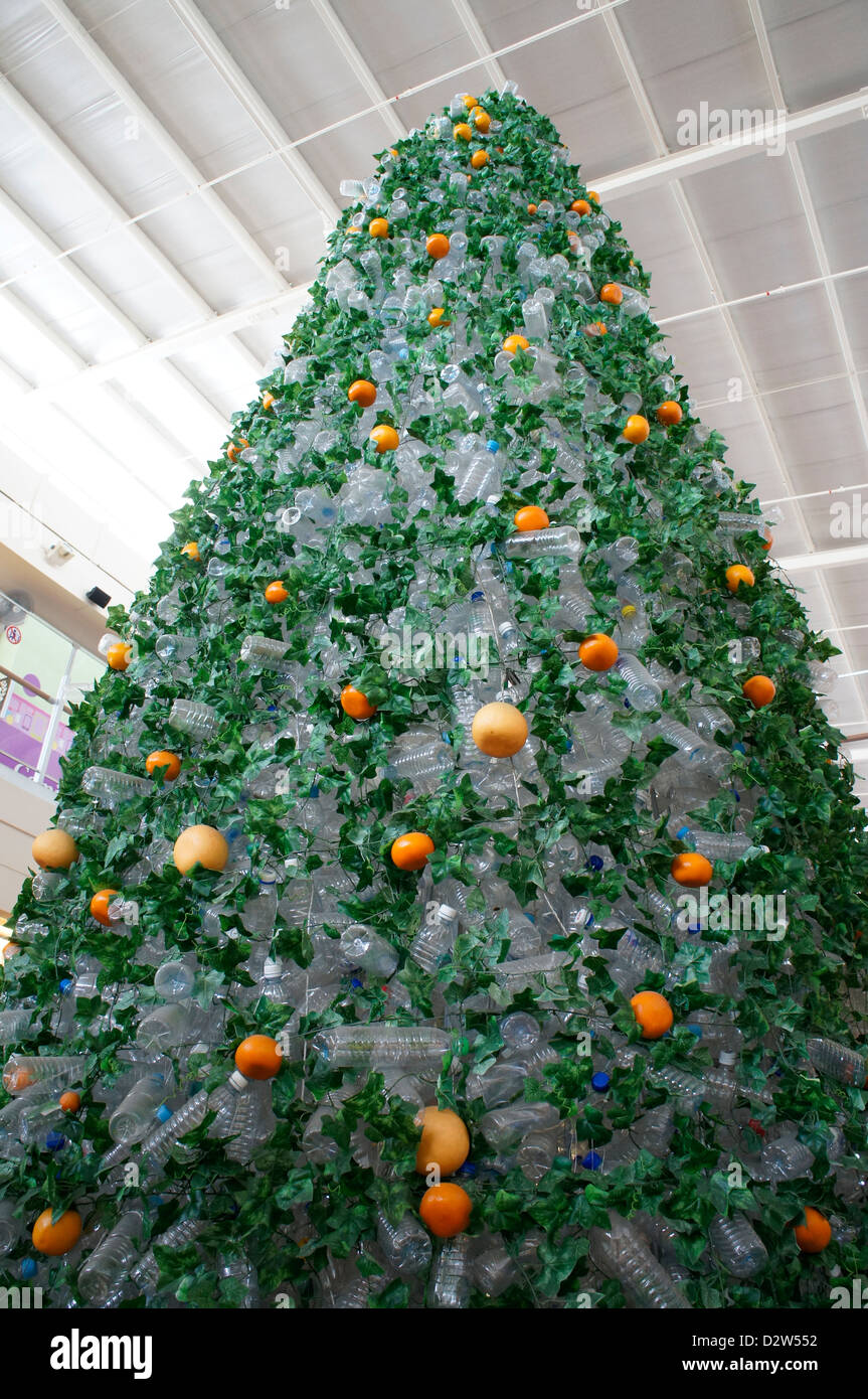 Christmas tree made using recycled empty mineral water plastic ...