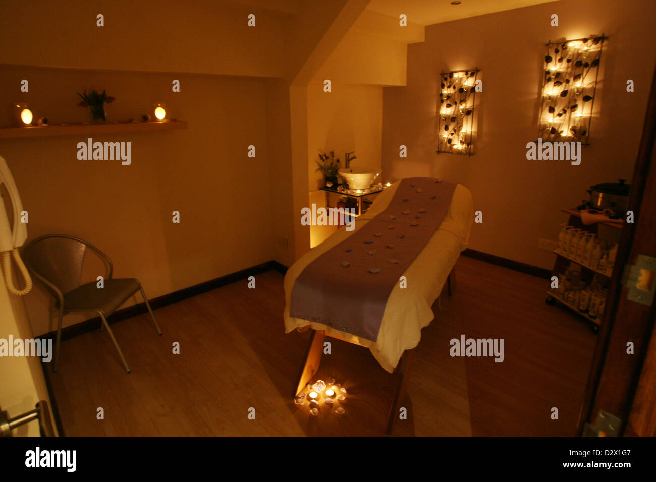 Aroma Spa Room Color ~ A massage and aromatherapy room at modern beauty salon