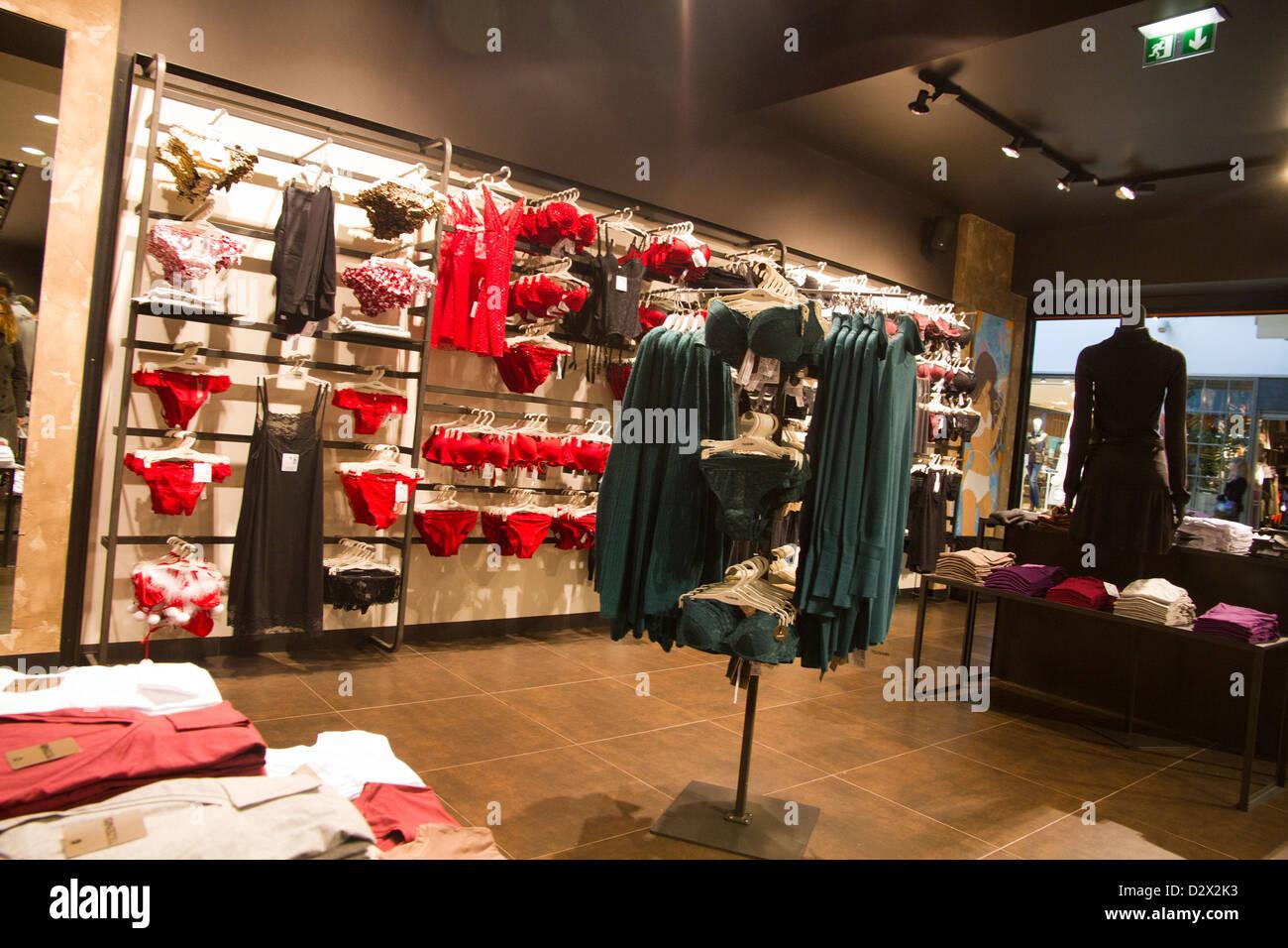 Tezenis underwear store woman red lingerie Stock Photo, Royalty ...