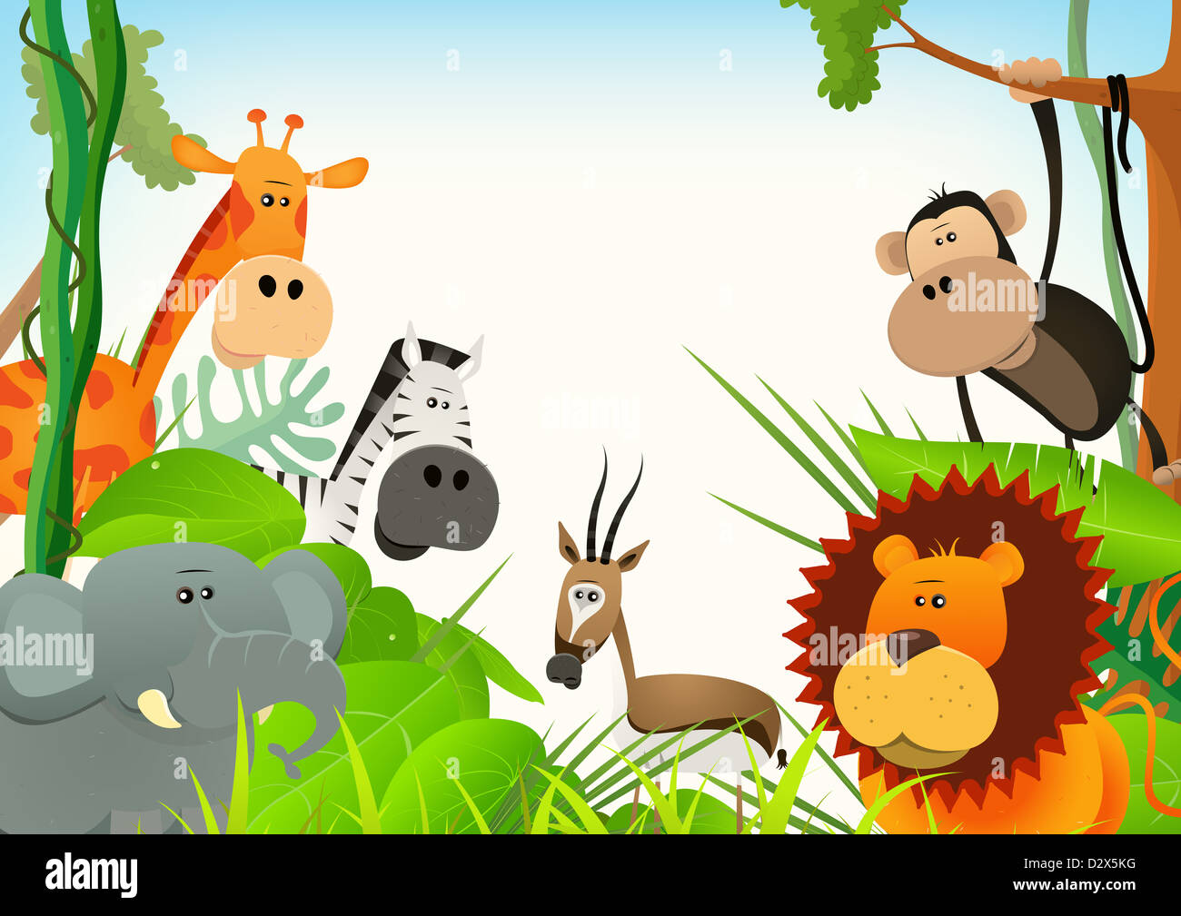 illustration of cute various cartoon wild animals from african
