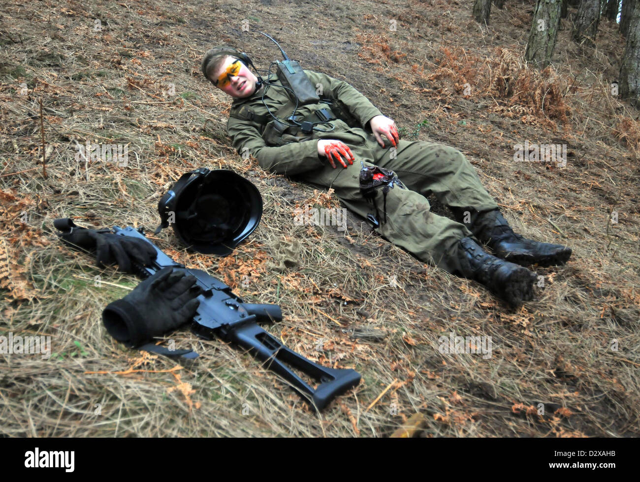Airsoft, participants in action during an airsoft game, UK ...