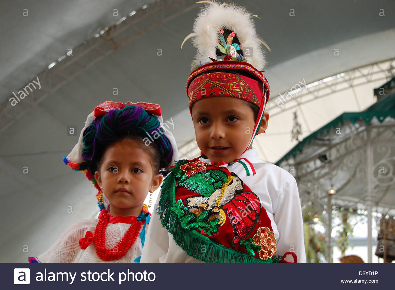 Closeup outdoor shot 2 indigenous Nahua Mexican children ...