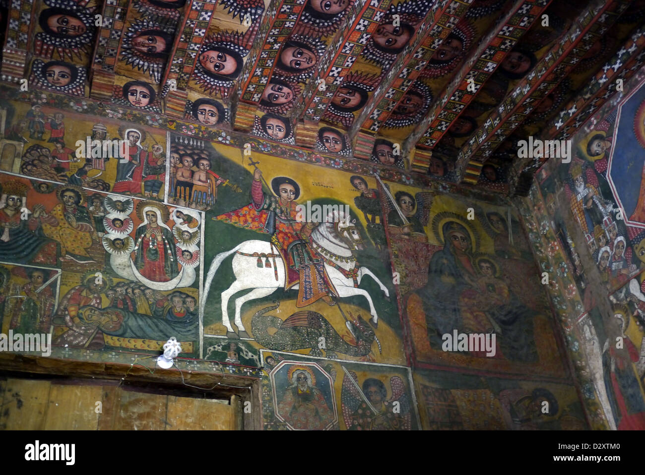ethiopian religious art stock photos ethiopian religious art ethiopia religious murals attributed 17th century artist haile meskel depicting st george killing dragon
