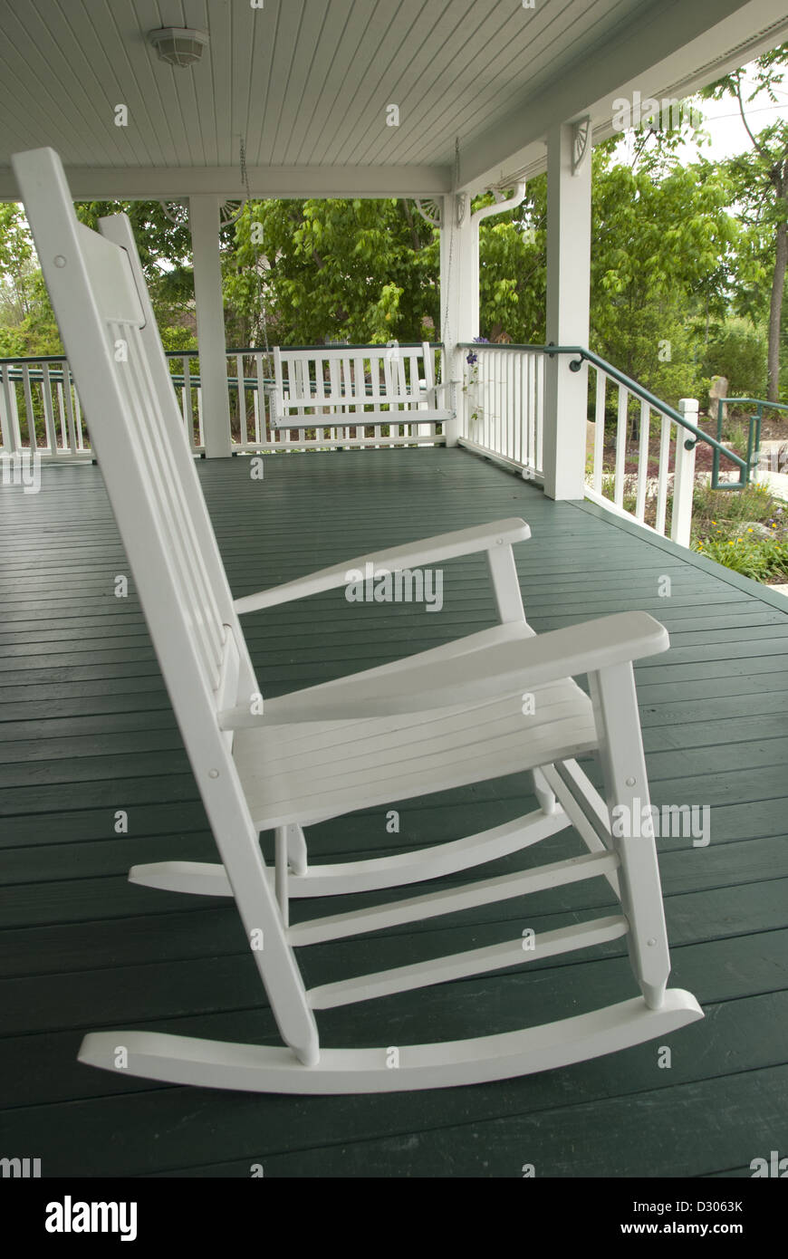 Rocking Chairs On House Porch In North Carolina Usa Stock