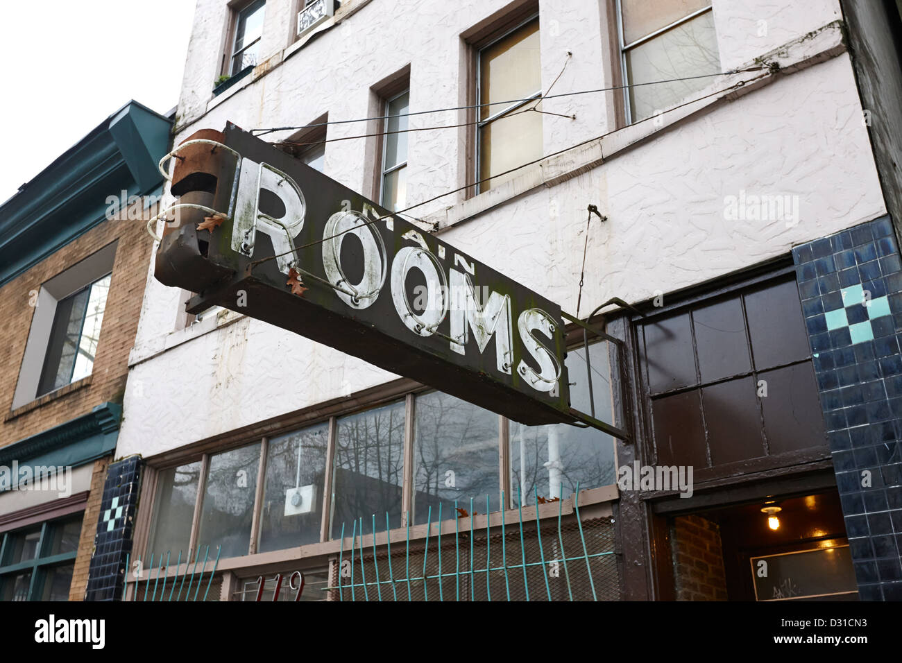 Cheap Run Down Hotel Rooms On Lower Main Street And Hastings Downtown Eastside Vancouver BC Canada