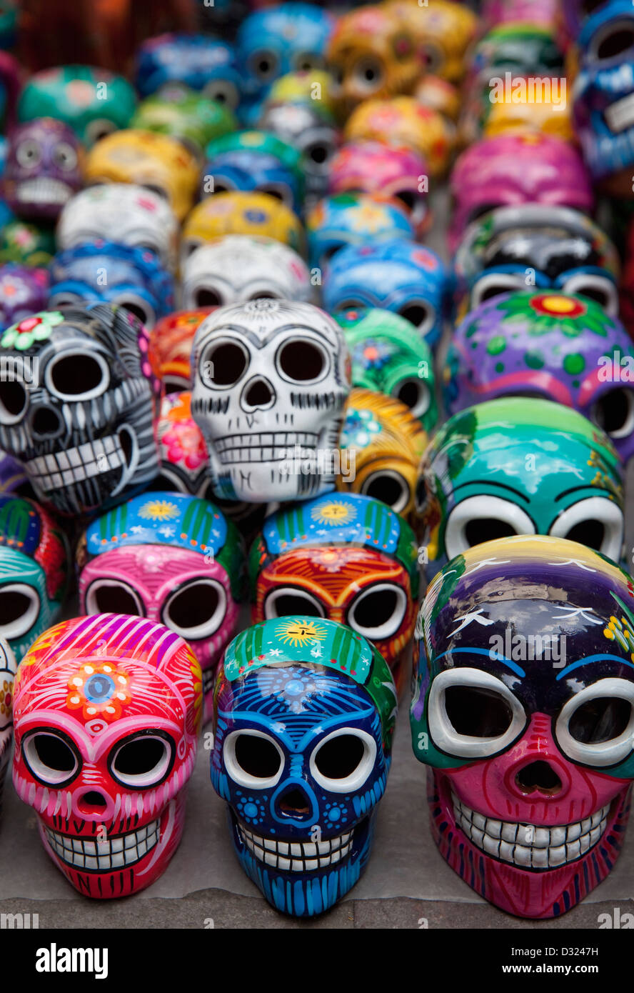Mexican ceramic stock photos mexican ceramic stock images alamy rows of handpainted ceramic skulls for sale during day of the dead celebration at market on dailygadgetfo Images