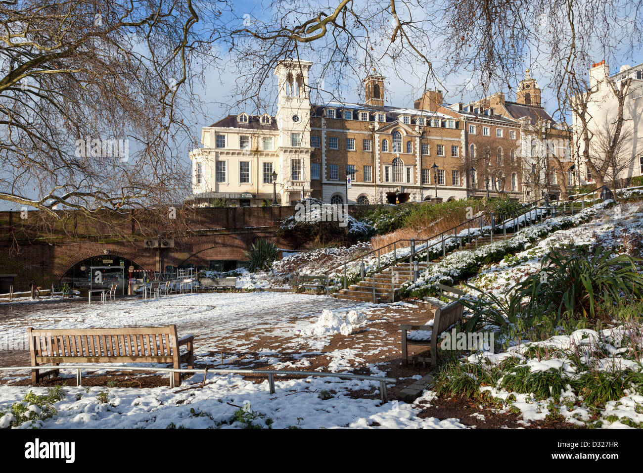Georgian buildingstrees and snow covered garden of tide tables georgian buildingstrees and snow covered garden of tide tables cafe in winter richmond upon thames greater london uk nvjuhfo Choice Image