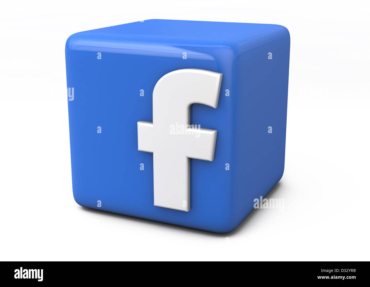 3d render of a facebook logo represented as a blue cube
