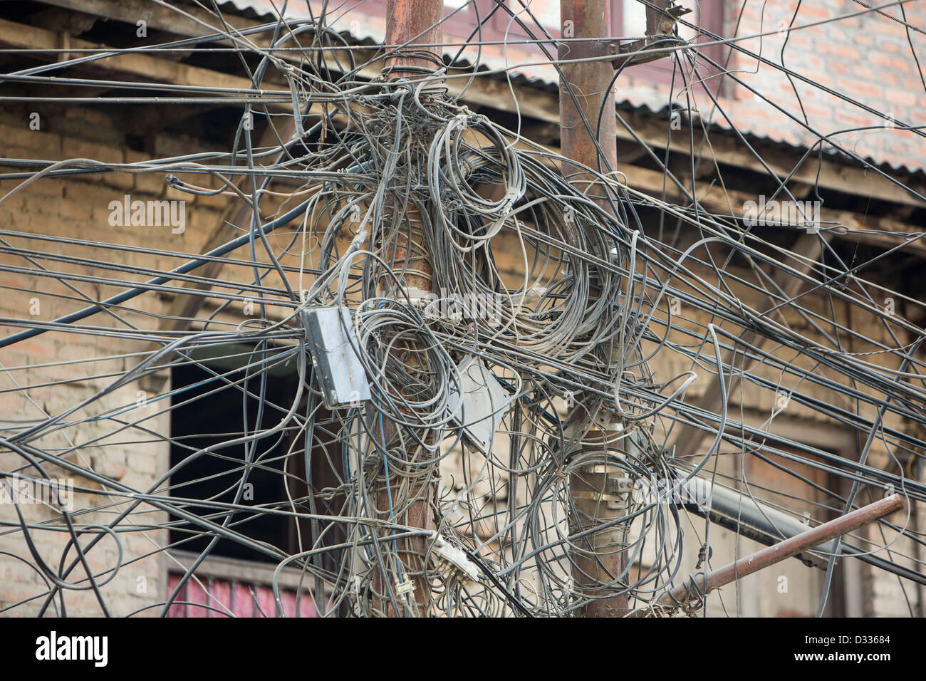 A tangle of electricity wires in Kathmandu, Nepal Stock Photo ...