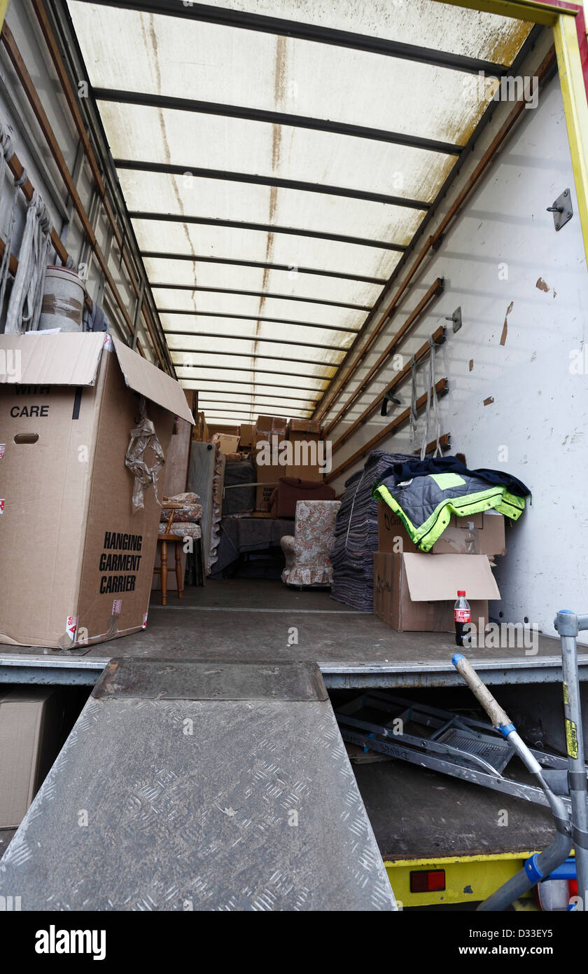 Looking into the back of a removal van part way through being ...