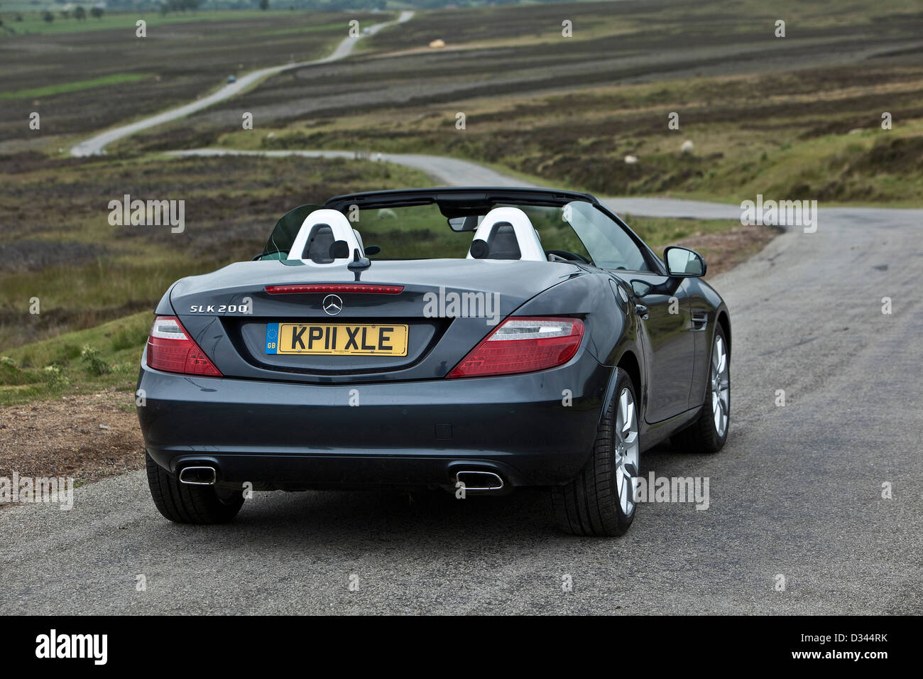 black mercedes slk 200 convertible car in rural pickering uk 28 06 stock photo royalty free. Black Bedroom Furniture Sets. Home Design Ideas