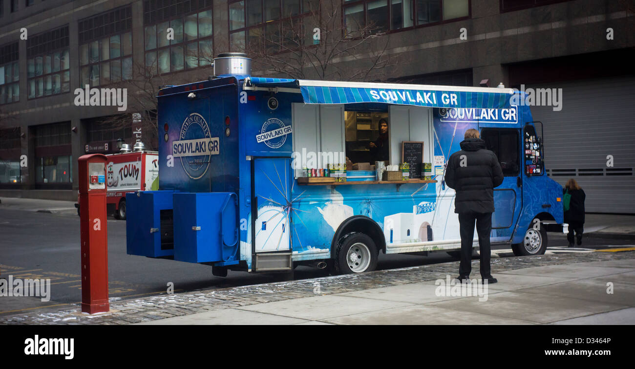 Customers At The Souvlaki GR Food Truck Outside World Financial Center In Lower Manhattan New York