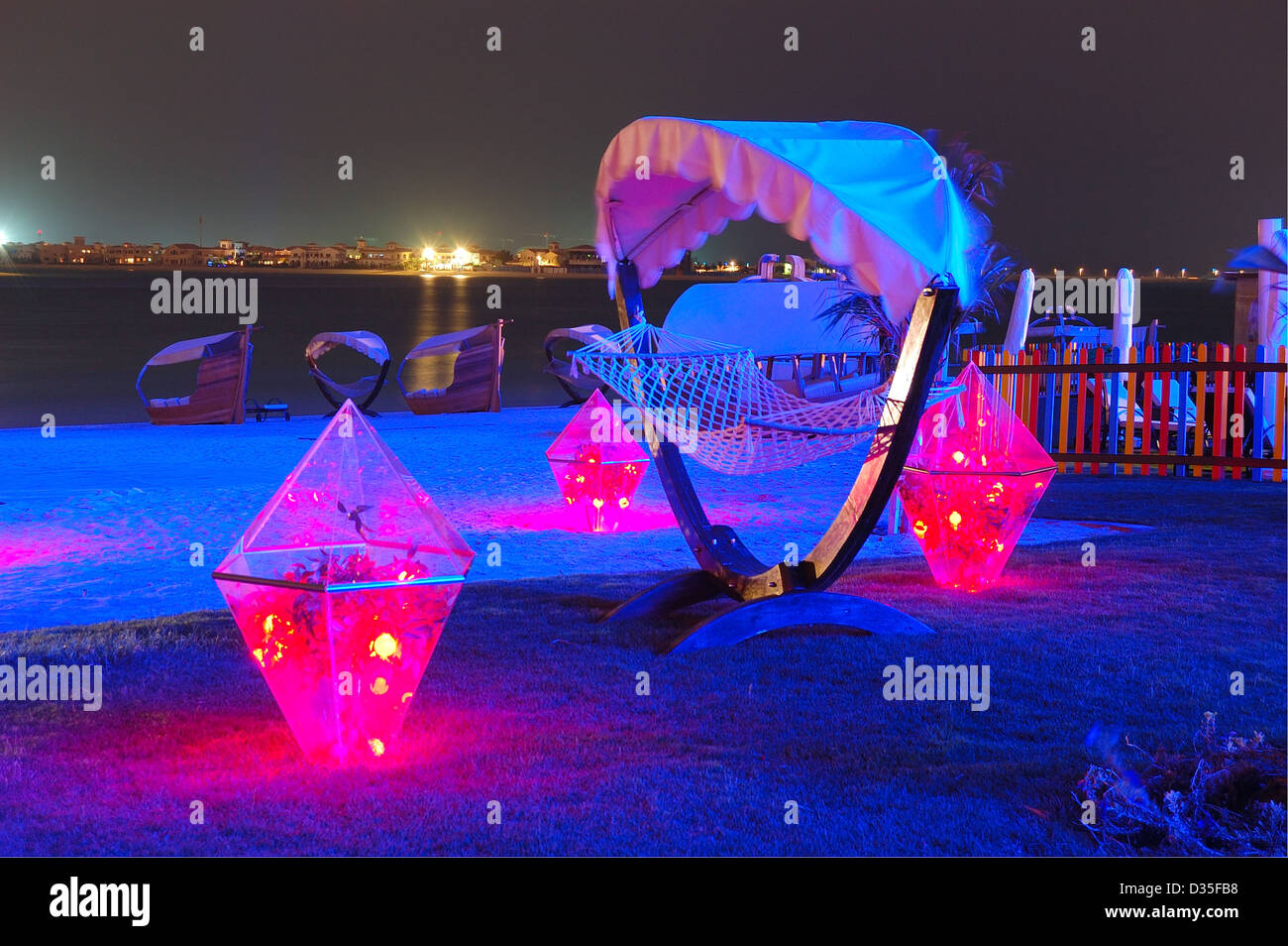 beach decoration at the luxury hotel and night illumination on