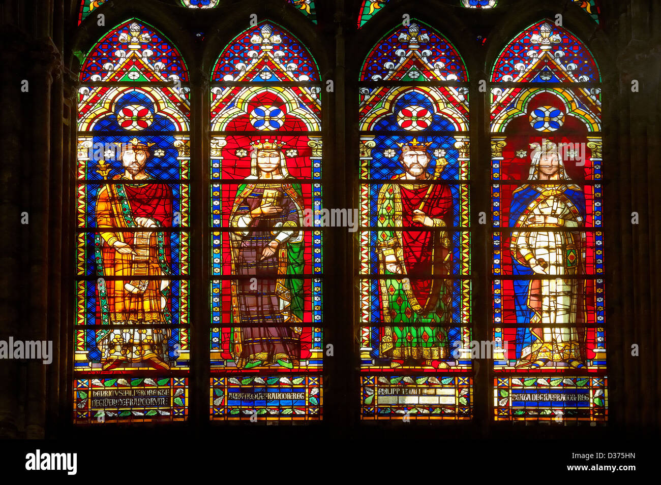 Medieval Gothic Stained Glass Window Showing The Kings Of France Cathedral Basilica Saint Denis