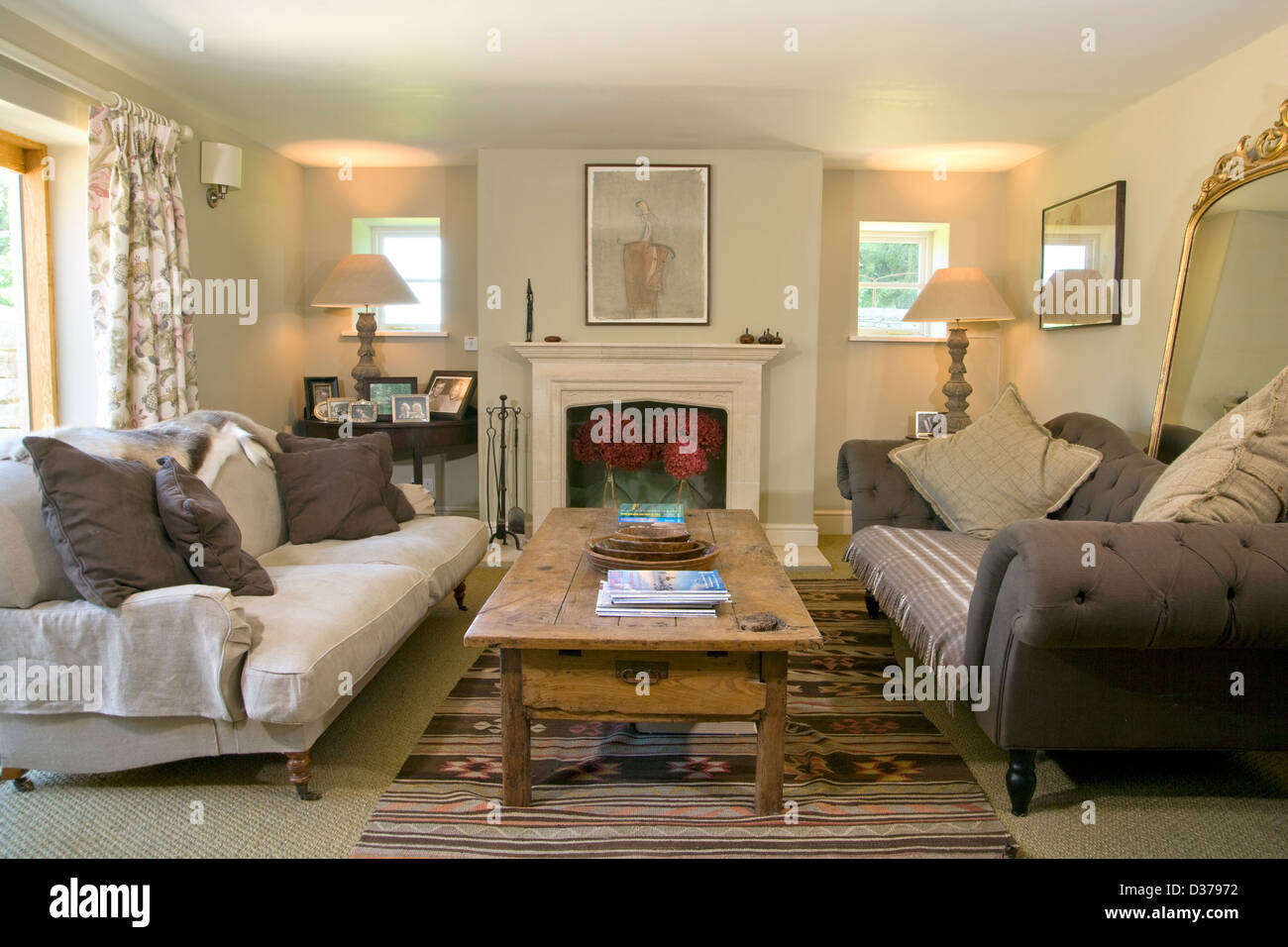 Contemporary Living Room With Two Opposing Sofas Stock Photo Royalty Free Im
