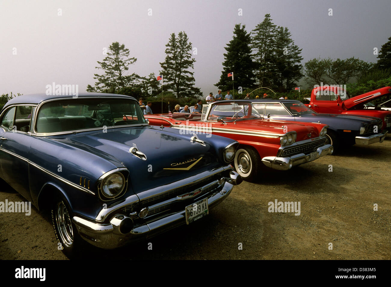 Elk282-1455 Maine, Pemaquid Point, classic cars Stock Photo ...