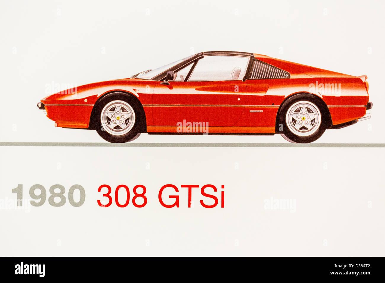 Graphic Representation Of A 1980 Ferrari 308 GTSi Ferrari