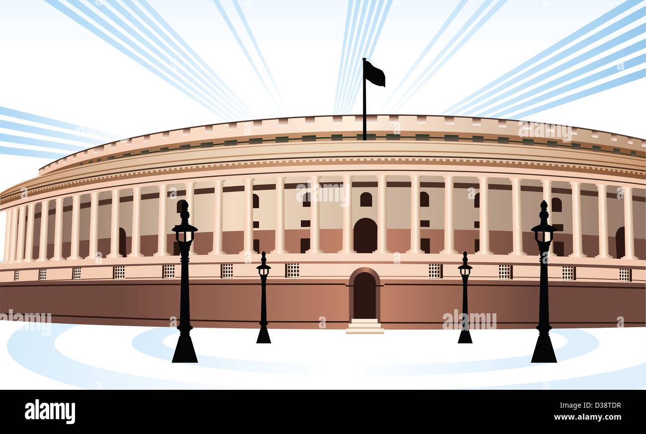 Facade Of A Government Building Sansad Bhawan New Delhi