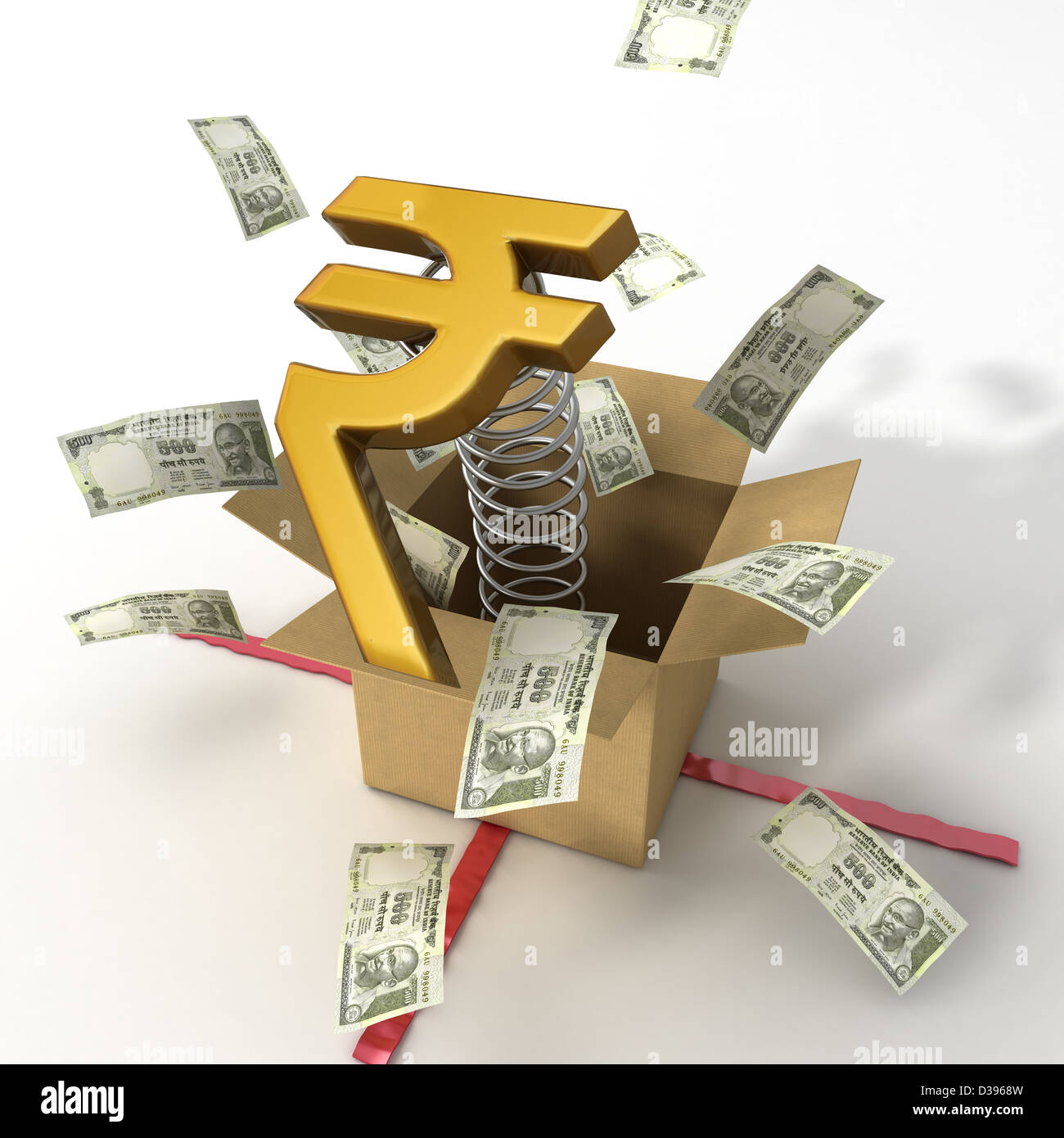 Indian currency notes bouncing out of box with a gold rupee symbol indian currency notes bouncing out of box with a gold rupee symbol on it biocorpaavc Choice Image