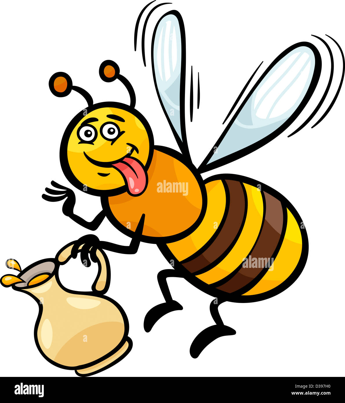 cartoon illustration of funny bee with pot of honey or nectar