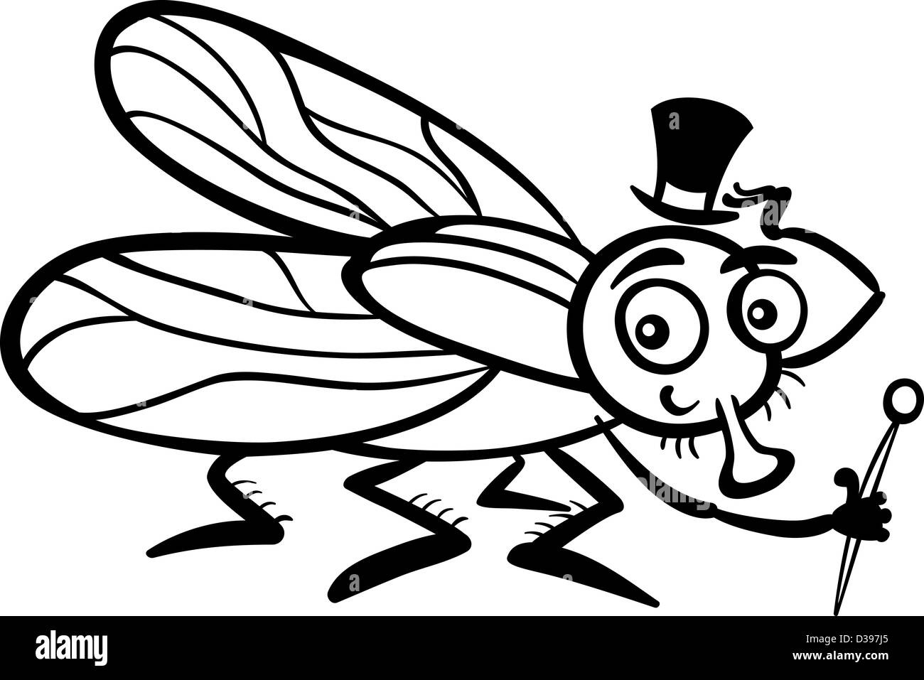 Black and White Cartoon Illustration of Funny Fly or Housefly with ...