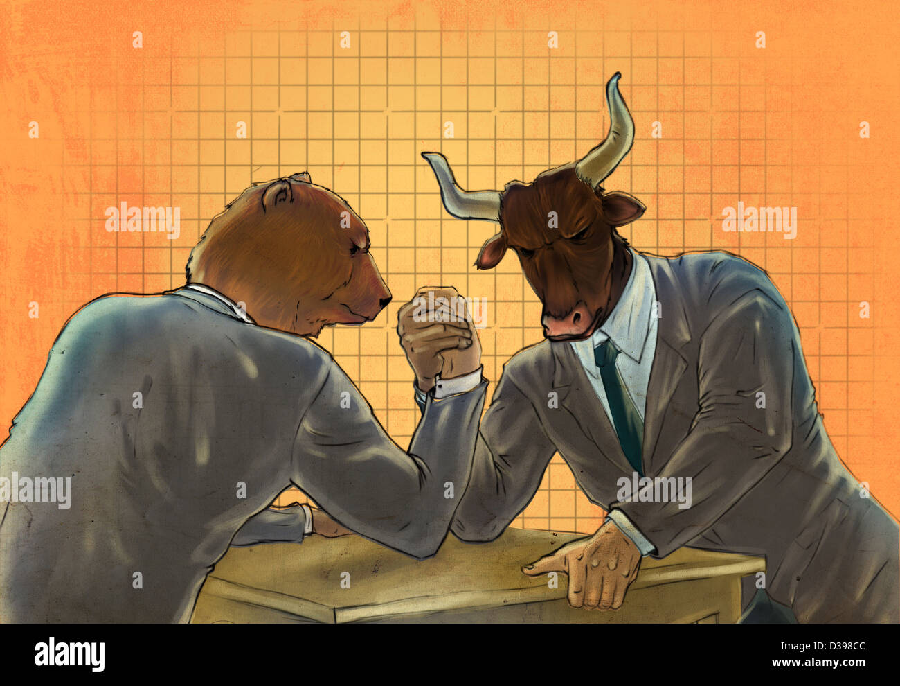 Anthropomorphic Bear And Bull Arm Wrestling Representing