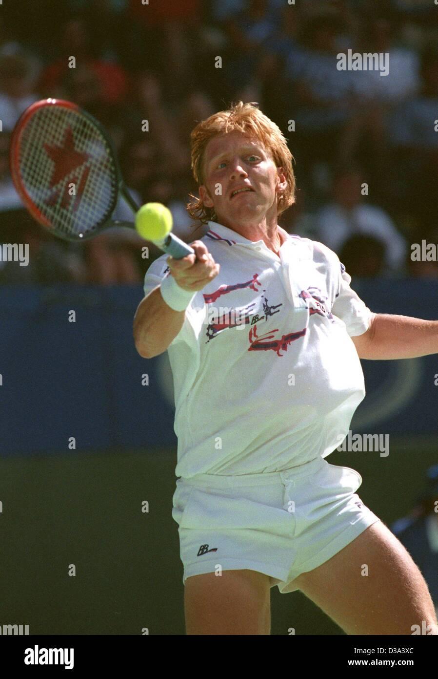 dpa files German tennis star Boris Becker returns a ball during