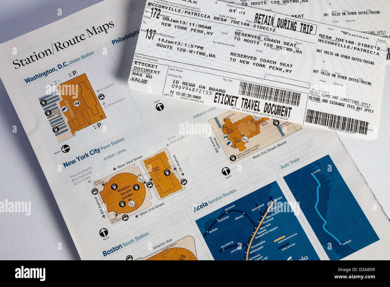 Amtrak Train Tickets and Route Maps USA Stock Photo 53703379 Alamy