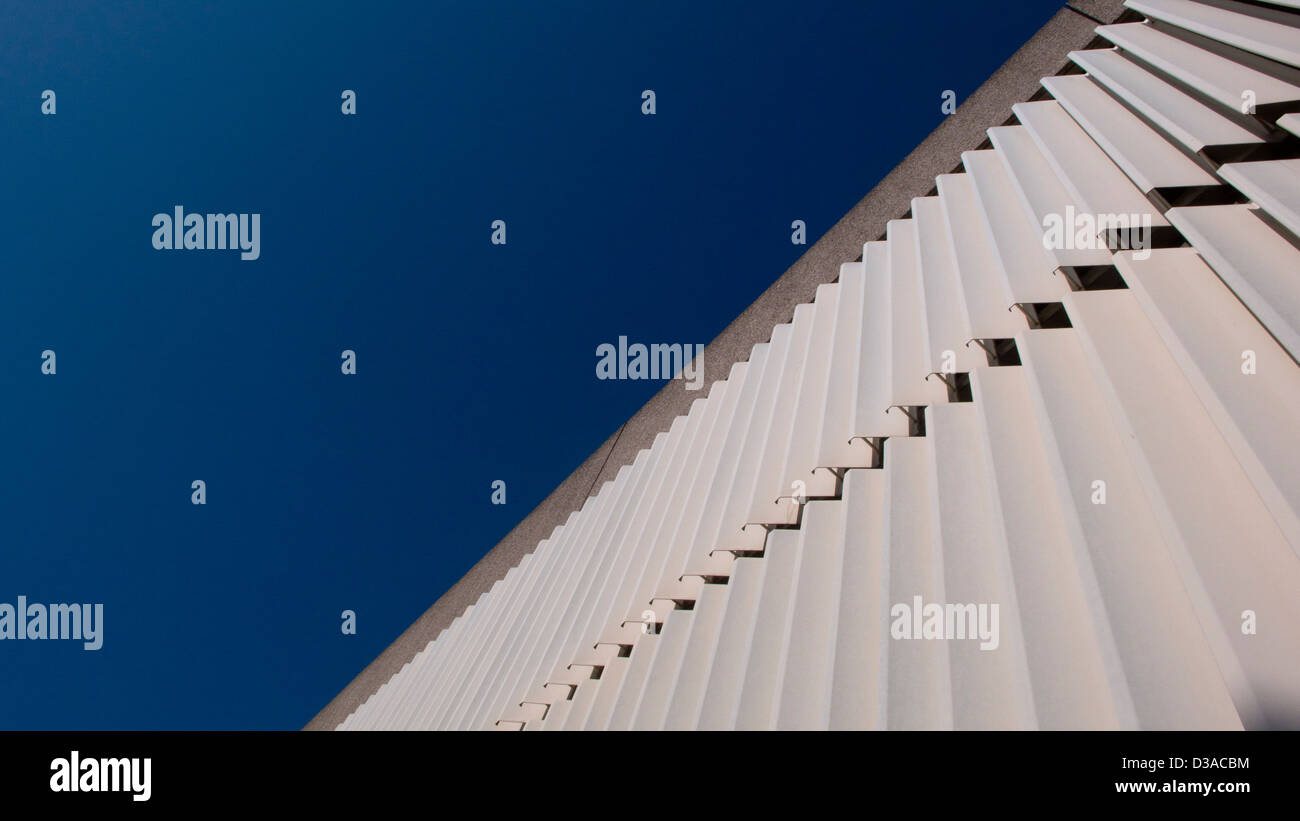 Architectural Cladding Steep Perspective Blue Sky Stock Photo - Architectural cladding
