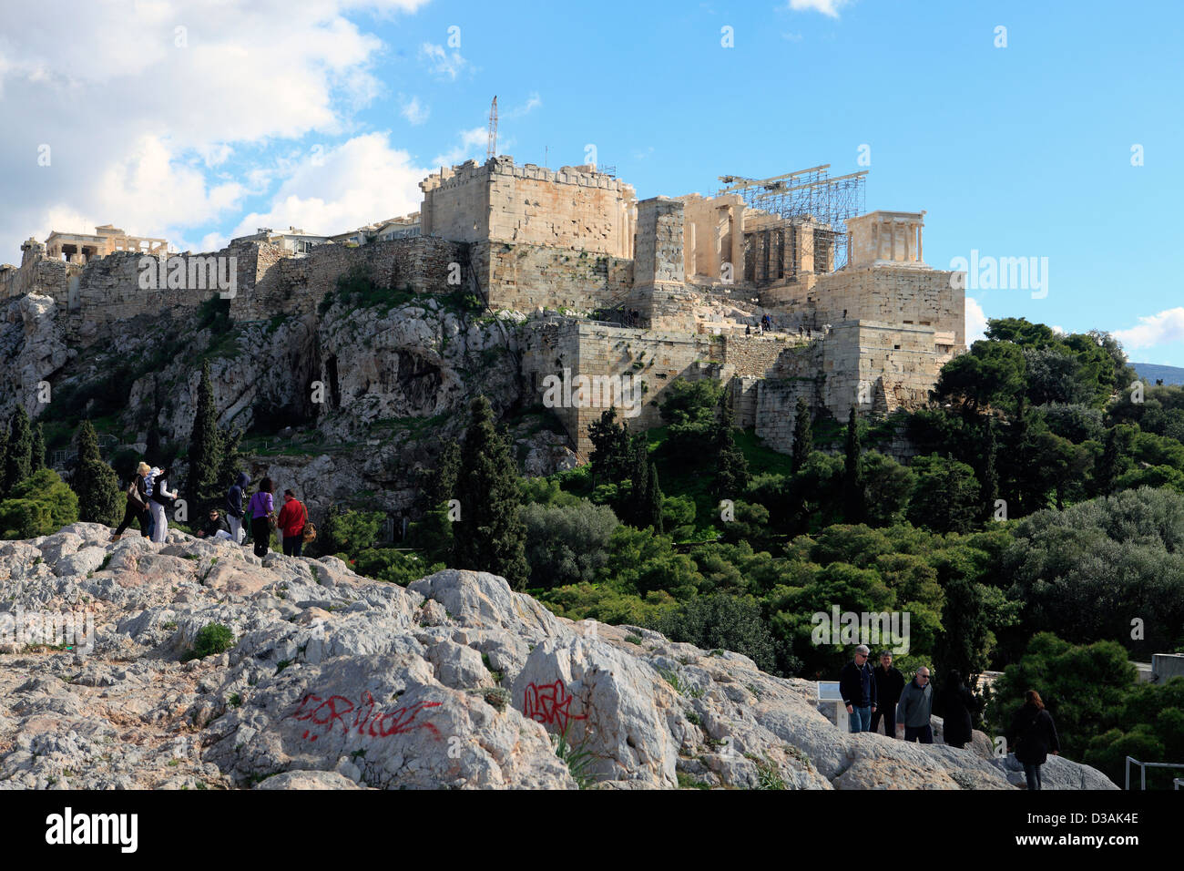 greece athens plaka view of the acropolis from areopagus ...