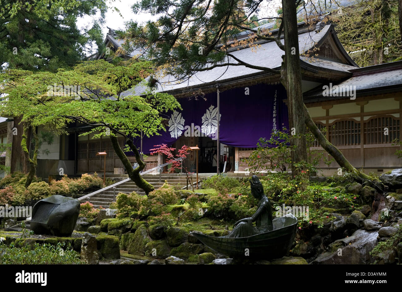 Japanese style garden surrounds the main entry gate to the Soto sect Zen  Buddhist temple of