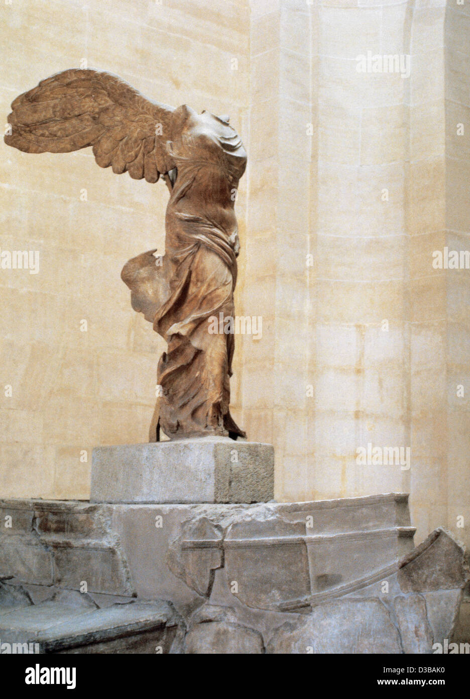 Greek art. Winged Victory of Samothrace or Nike of Samothrace. 2nd century  BC. Marble. Museum of Louvre. Paris