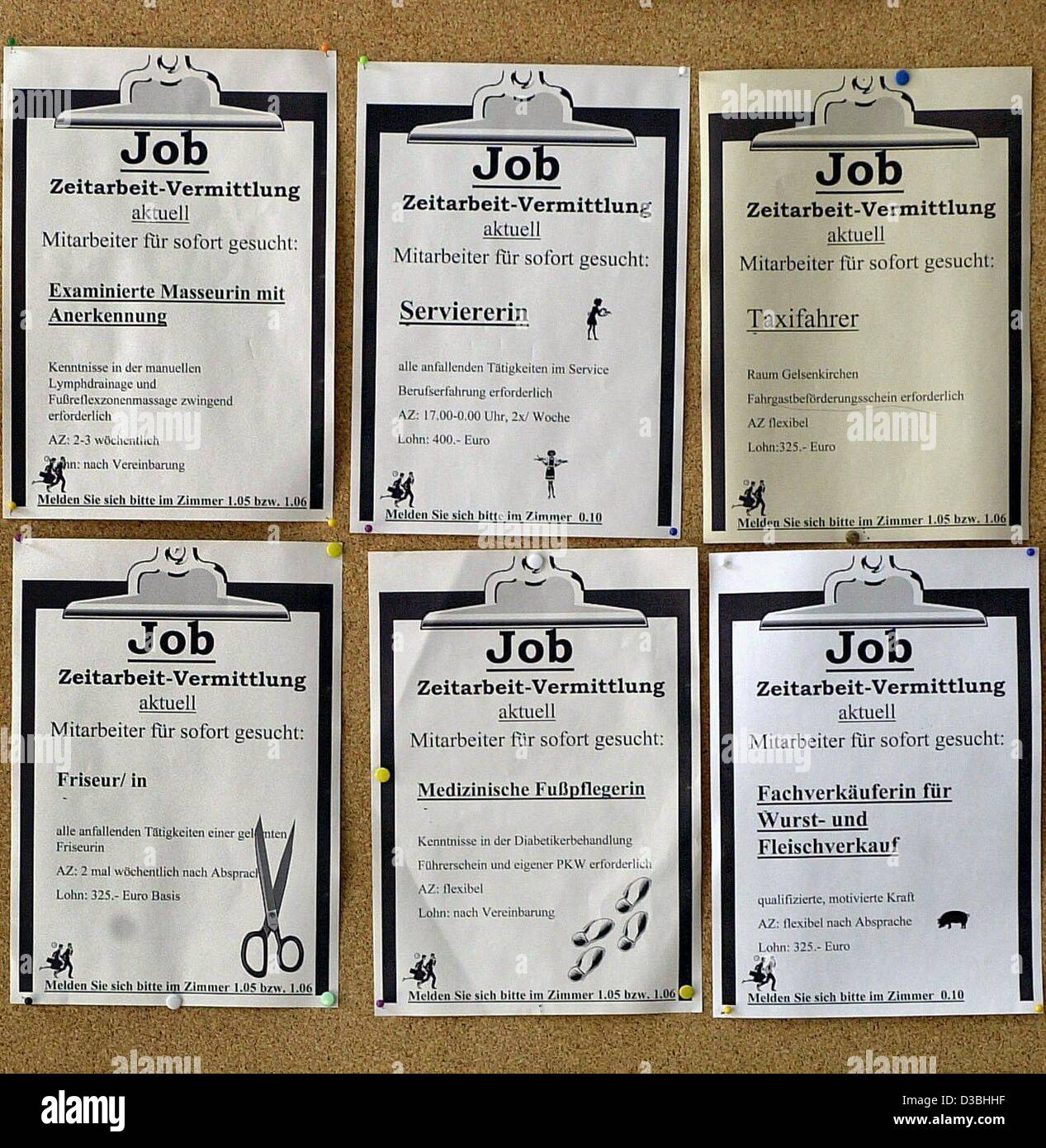 dpa) - A notice board for vacancies advertises temping jobs in the ...