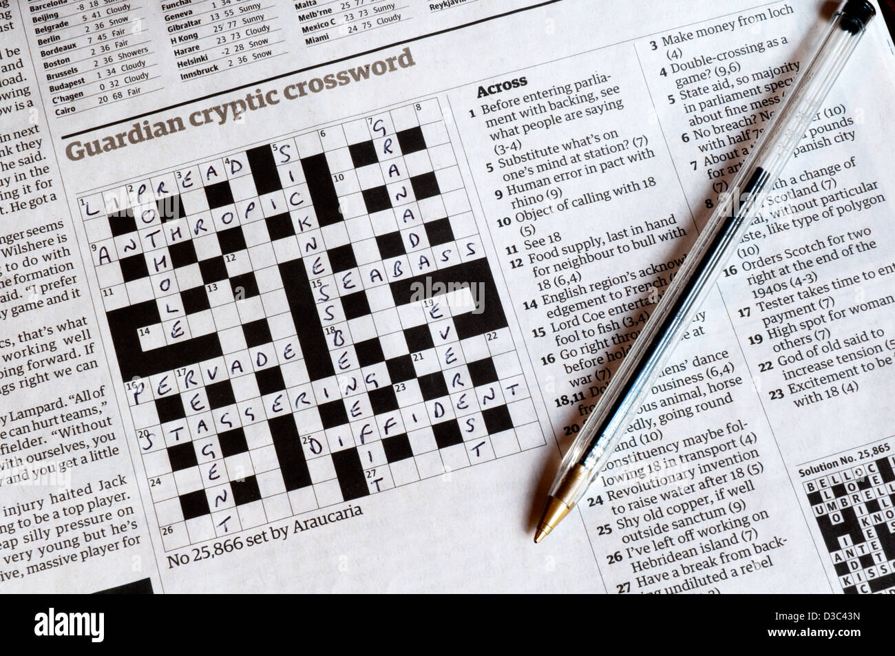 Part completed Guardian cryptic crossword set by Araucaria (John Graham). See D3C42E for blank version of puzzle. & Part completed Guardian cryptic crossword set by Araucaria (John ... 25forcollege.com