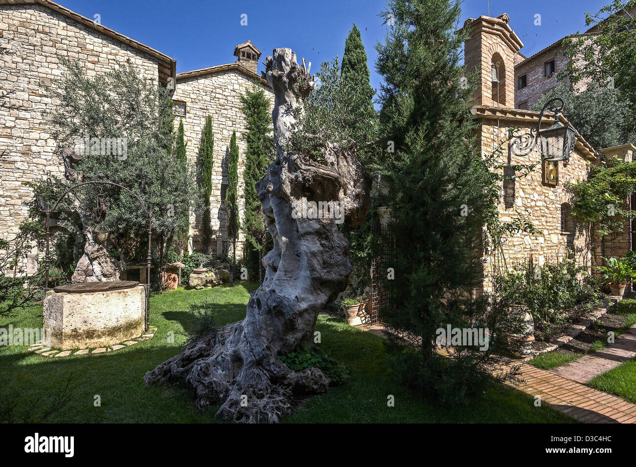 A Private Garden With A Chapel In Assisi, Italy