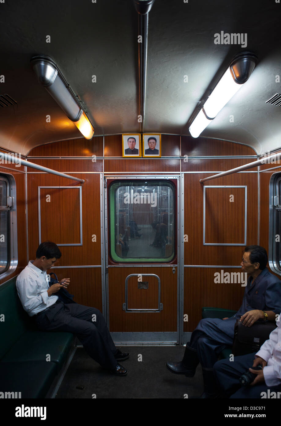 a view of the interior of a metro train pyongyang north korea stock photo royalty free image. Black Bedroom Furniture Sets. Home Design Ideas