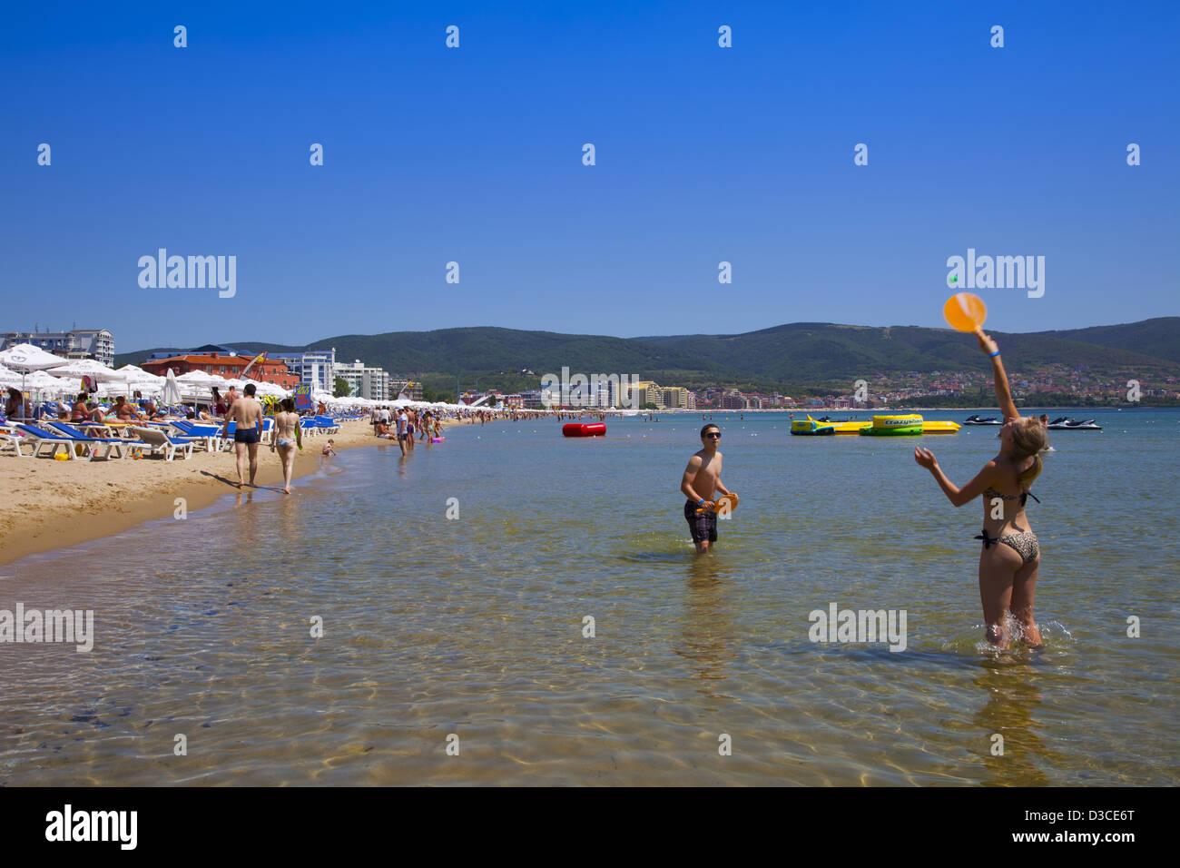 Bulgaria Europe Black Sea Coast South Sunny Beach People Enjoying The Beach
