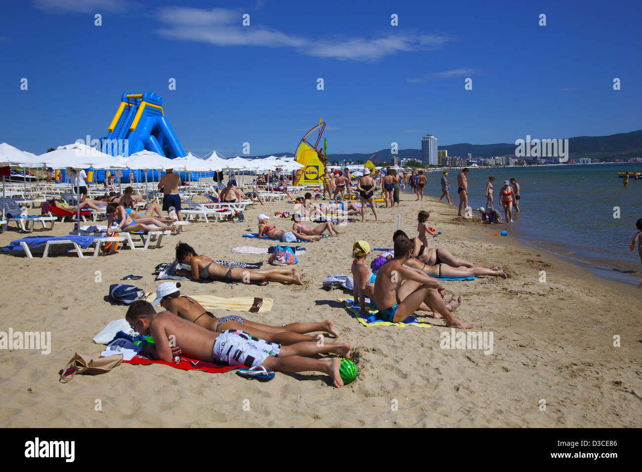 Bulgaria Europe Black Sea Coast Sunny Beach People Enjoying The Sunshades