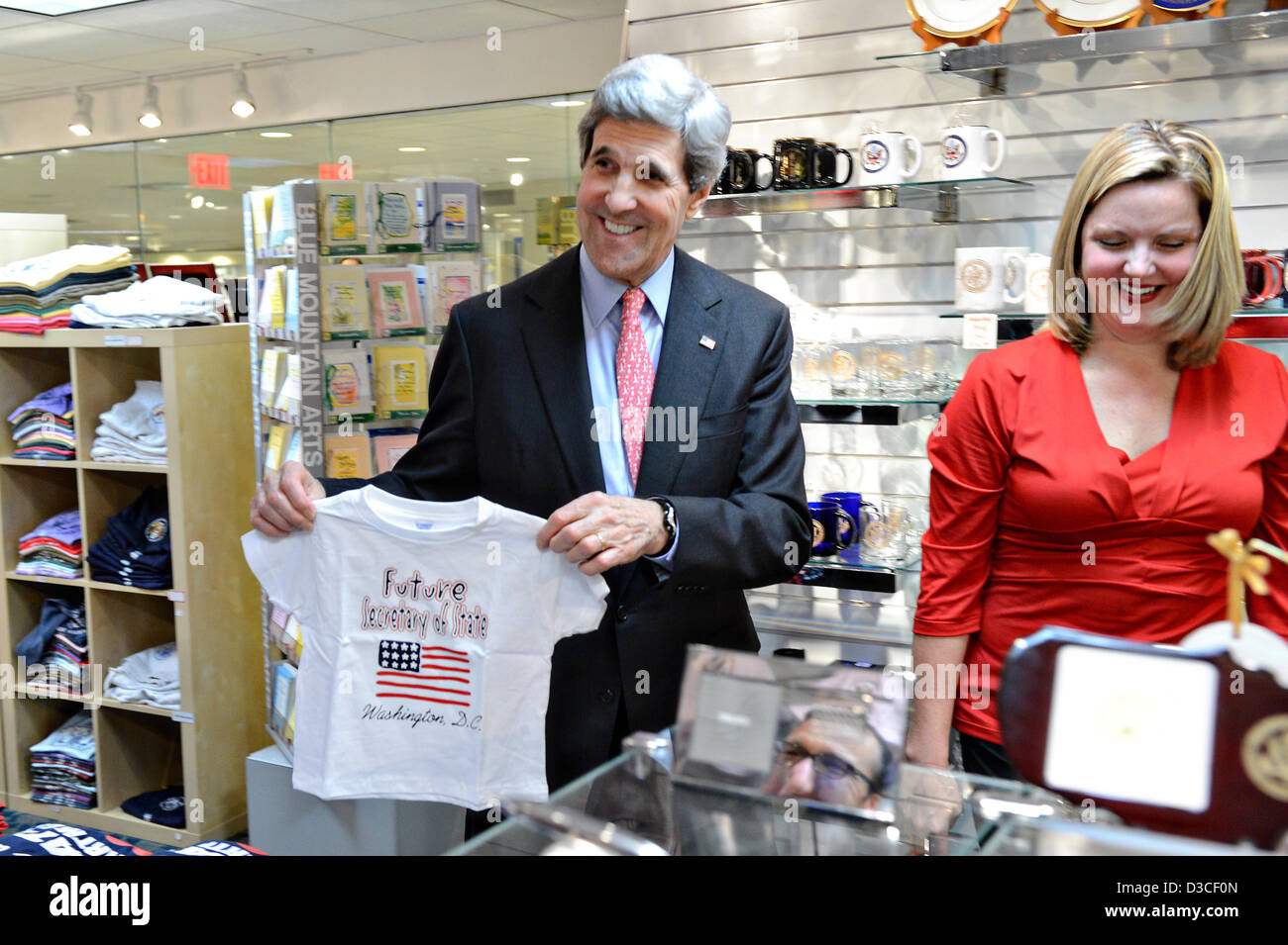 US Secretary of State John Kerry visits the gift shop at the Stock ...