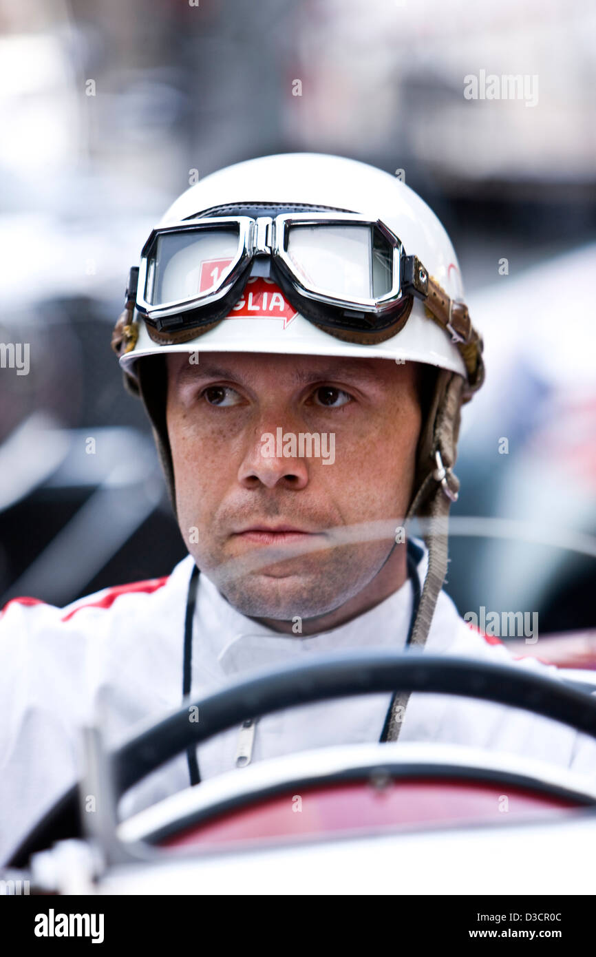Man Wearing Racing Goggles And Safety Helmet Mille Miglia
