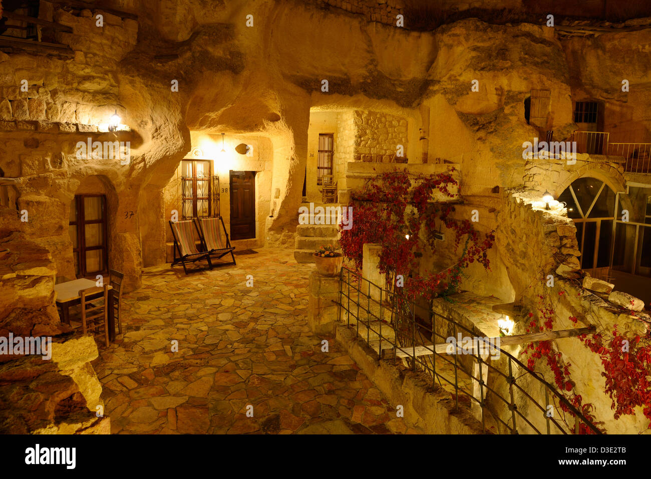 Fireplace Rock Urgup Evi Rock House Cave Hotel At Night In Cappadocia