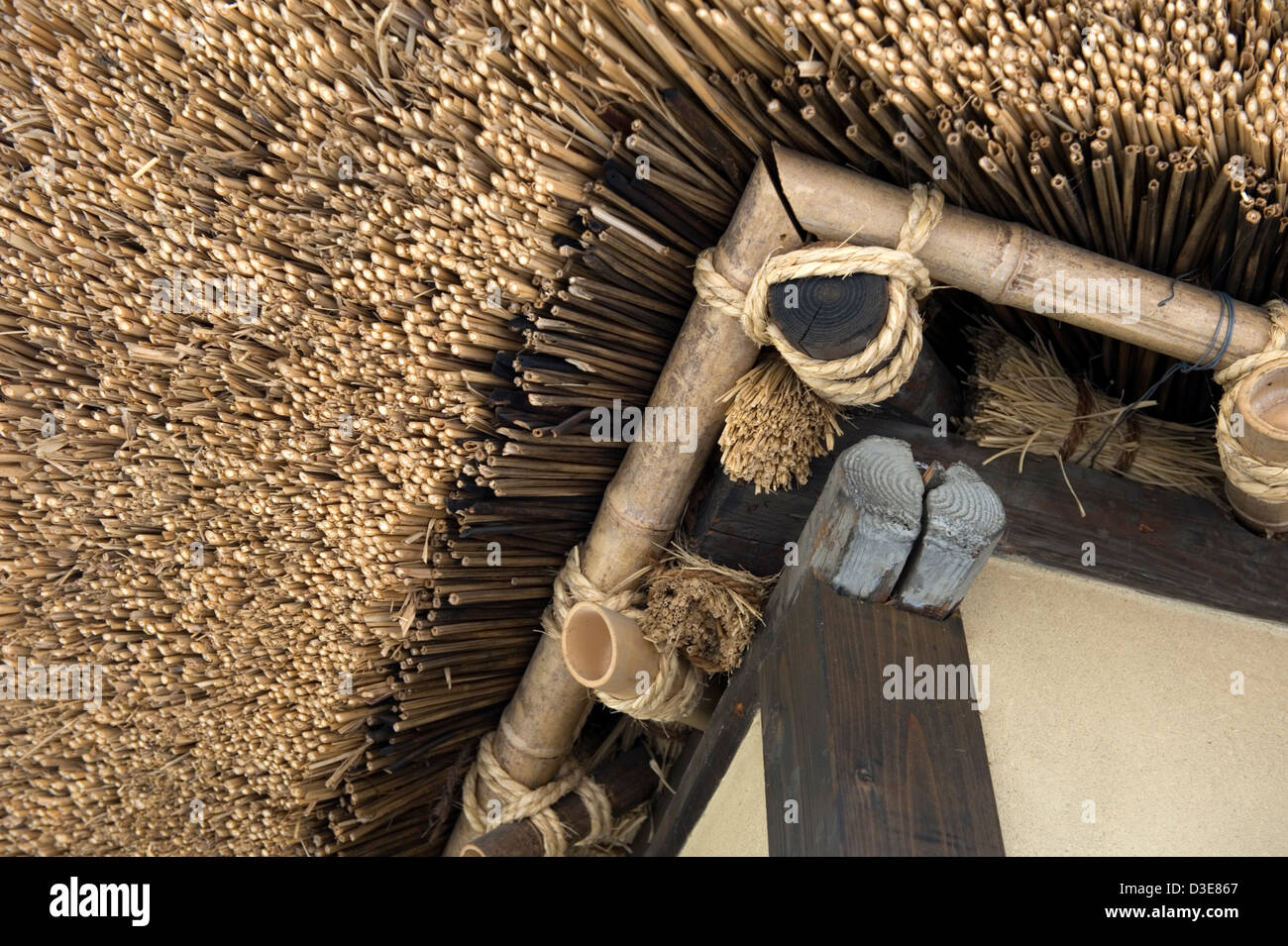 architectural detail photography. close-up architectural detail of traditional japanese warabuki or kayabuki natural thatched roof construction with rope lashing photography