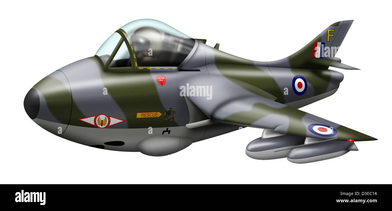 cartoon illustration of a royal air force supermarine spitfire