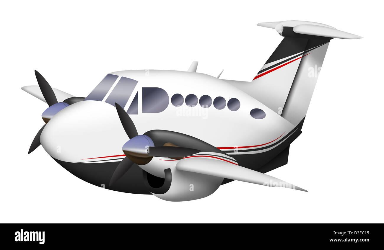 cartoon illustration of a beechcraft king air stock photo royalty
