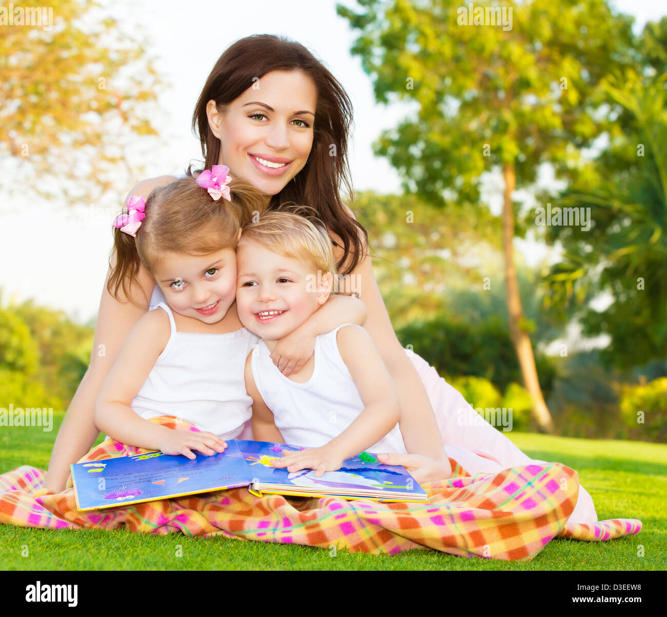 picture of young happy family beautiful mother with two cute kids