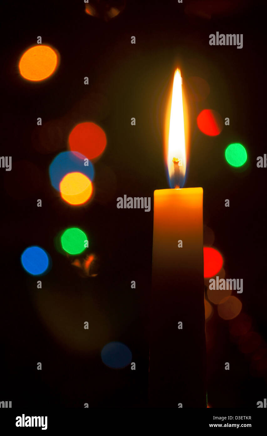 Candlelight In Dark Room With Color Lamps