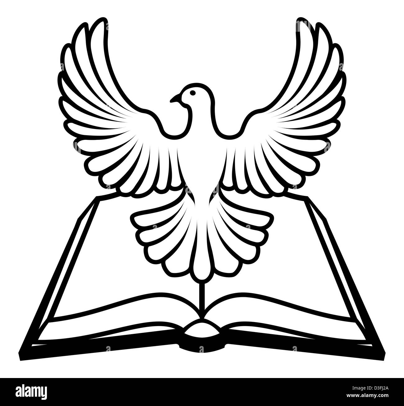 christian bible with the holy spirit in the form of a white dove