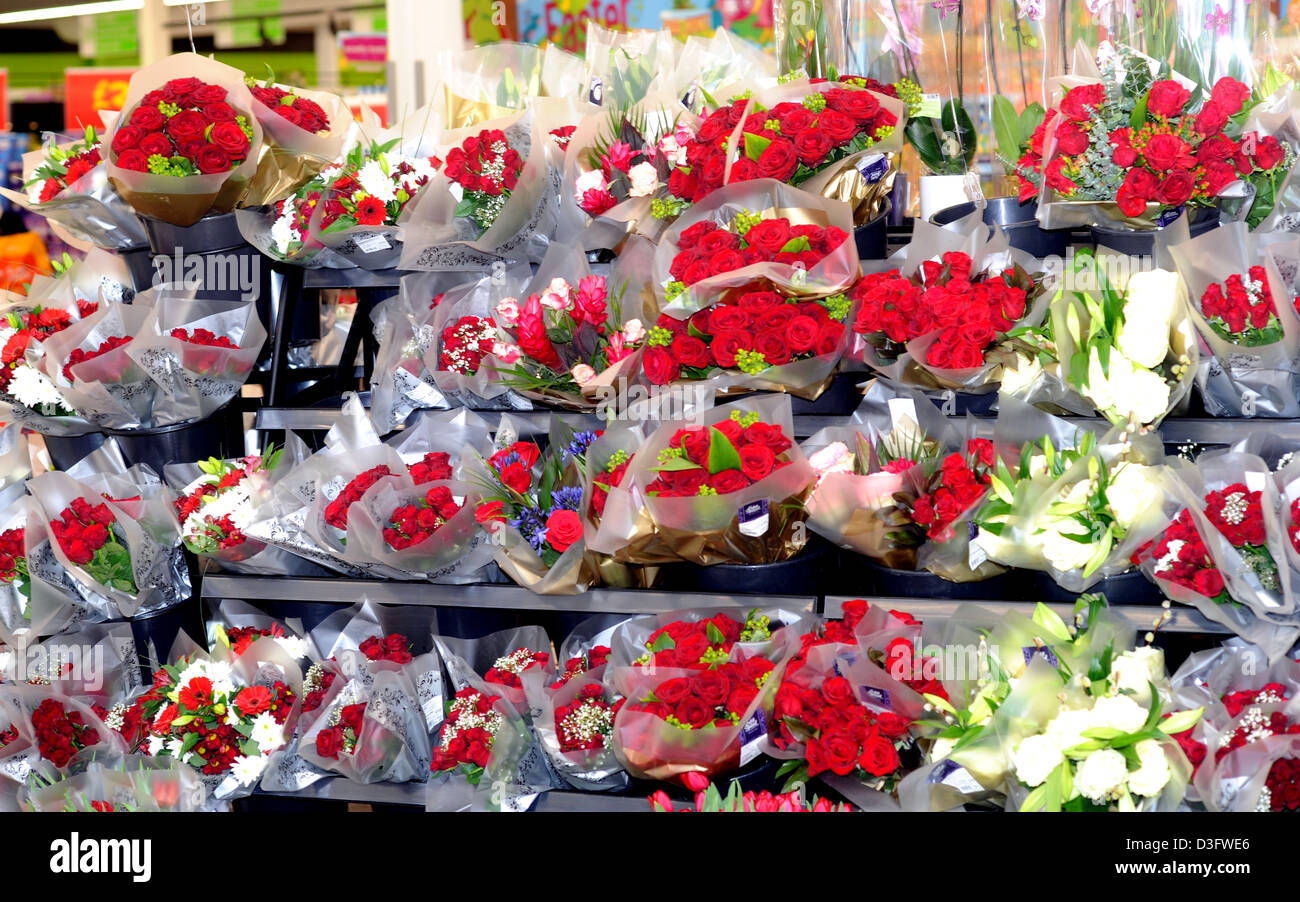 Red roses on a valentines display at Asda superstore at Ferring